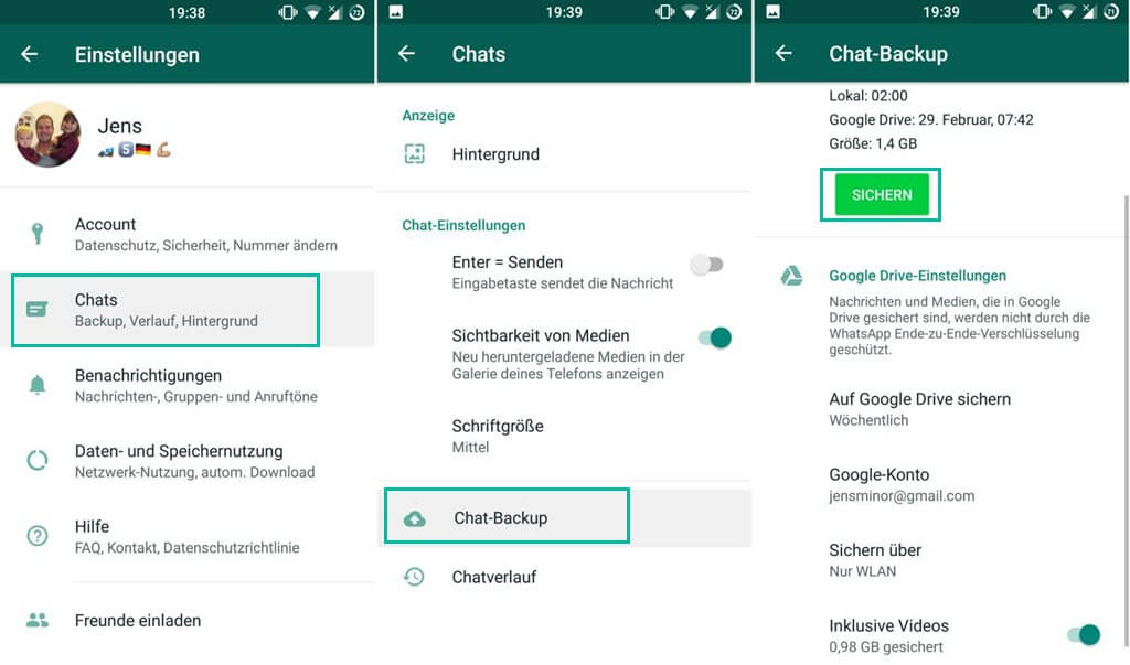 WhatsApp Chat Backup auf Google Drive