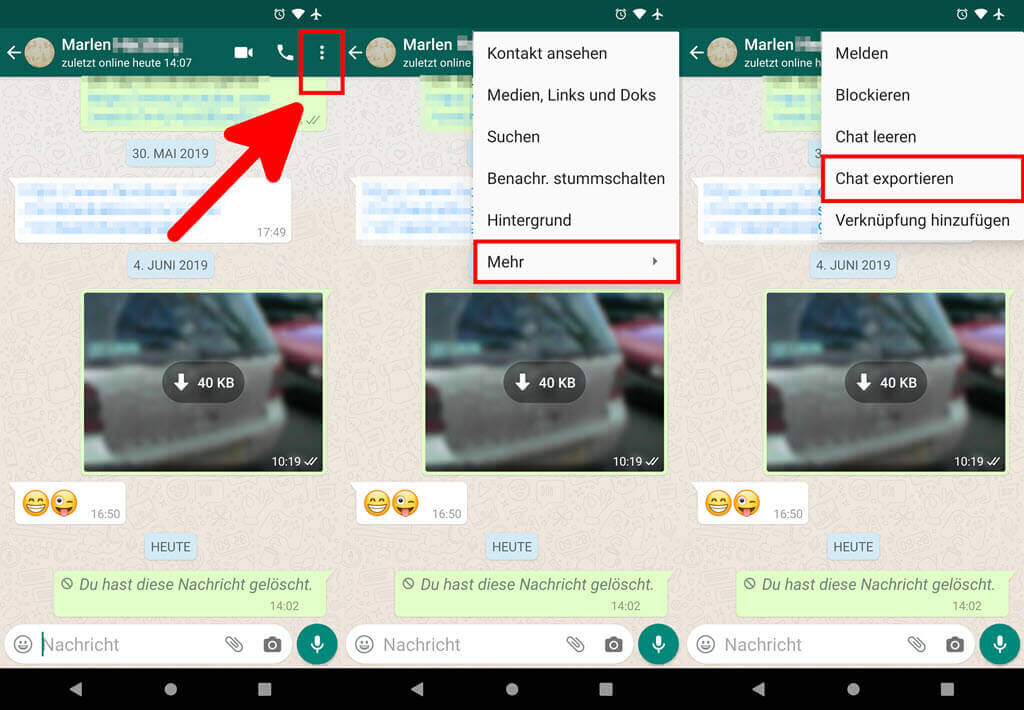 WhatsApp Chat exportieren Android