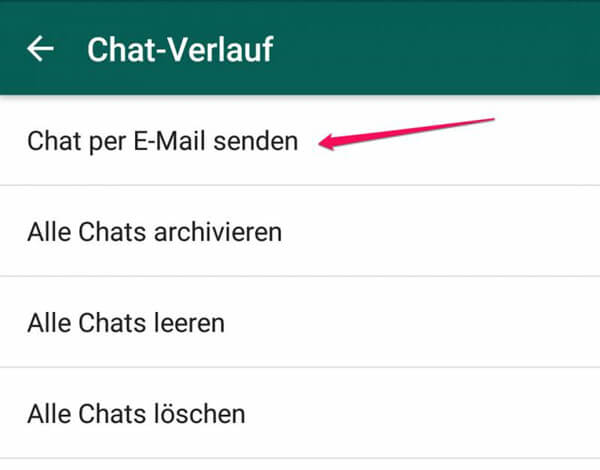 WhatsApp-Chat per E-Mail senden