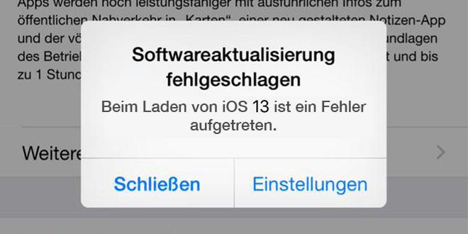 Beim Laden von iOS ist ein Fehler aufgetreten