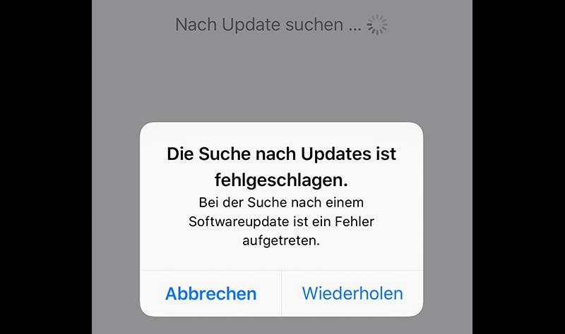 Die Suche nach Updates ist fehlgeschlagen