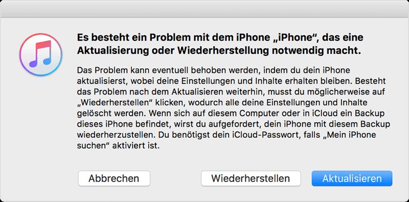 Die Fehlermeldung Es besteht ein Problem mit dem iPhone