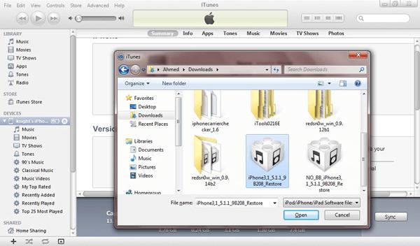 Firmware ipsw Datei waehlen