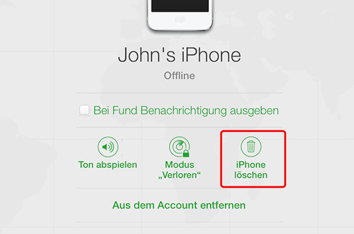 iPhone löschen mit iCloud