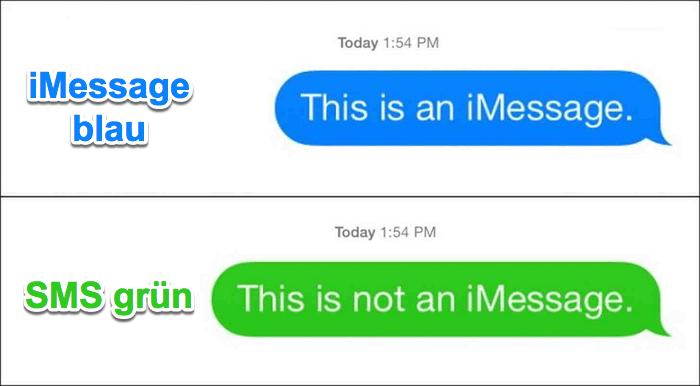 iMessage SMS Unterschied