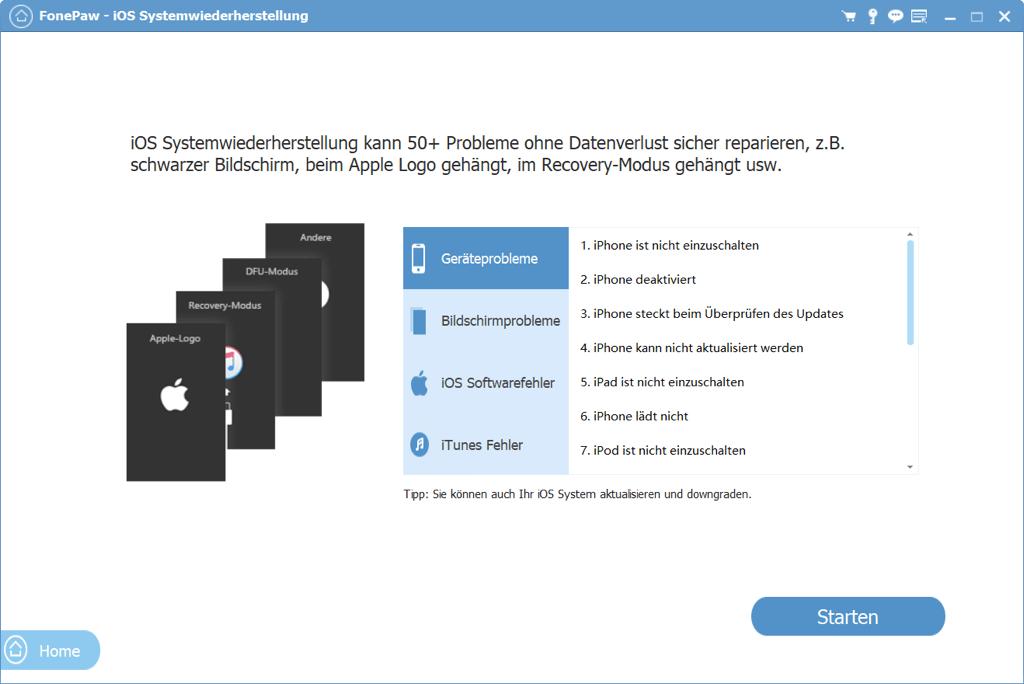 Navigation zur iOS Systemwiederherstellung
