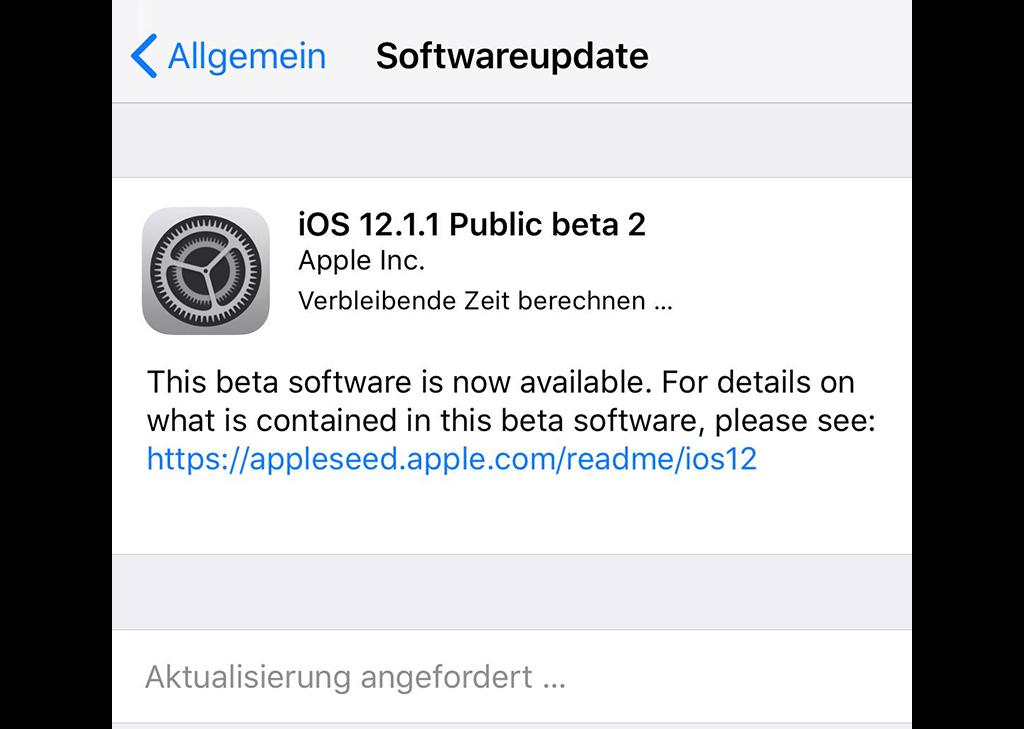 iOS-Aktualisierung angefordert