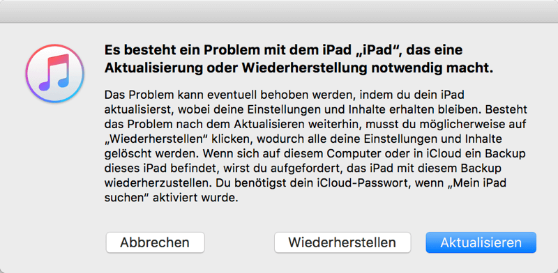 iPad im Recovery Modus mit iTunes verbinden