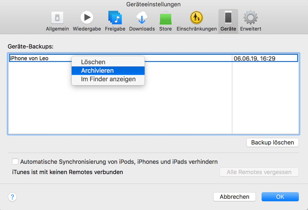 iPhone Backup archivieren auf iTunes