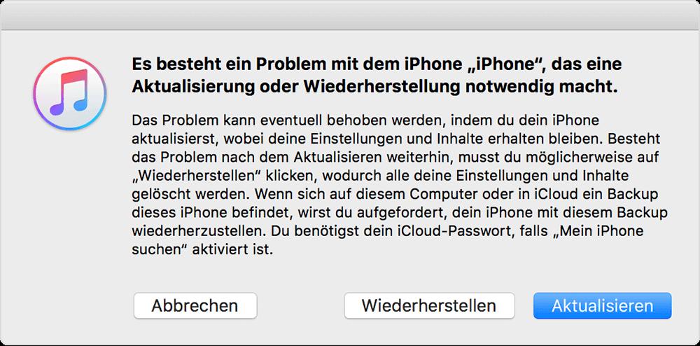 iPhone im Wiederherstellungsmodus mit iTunes verbinden