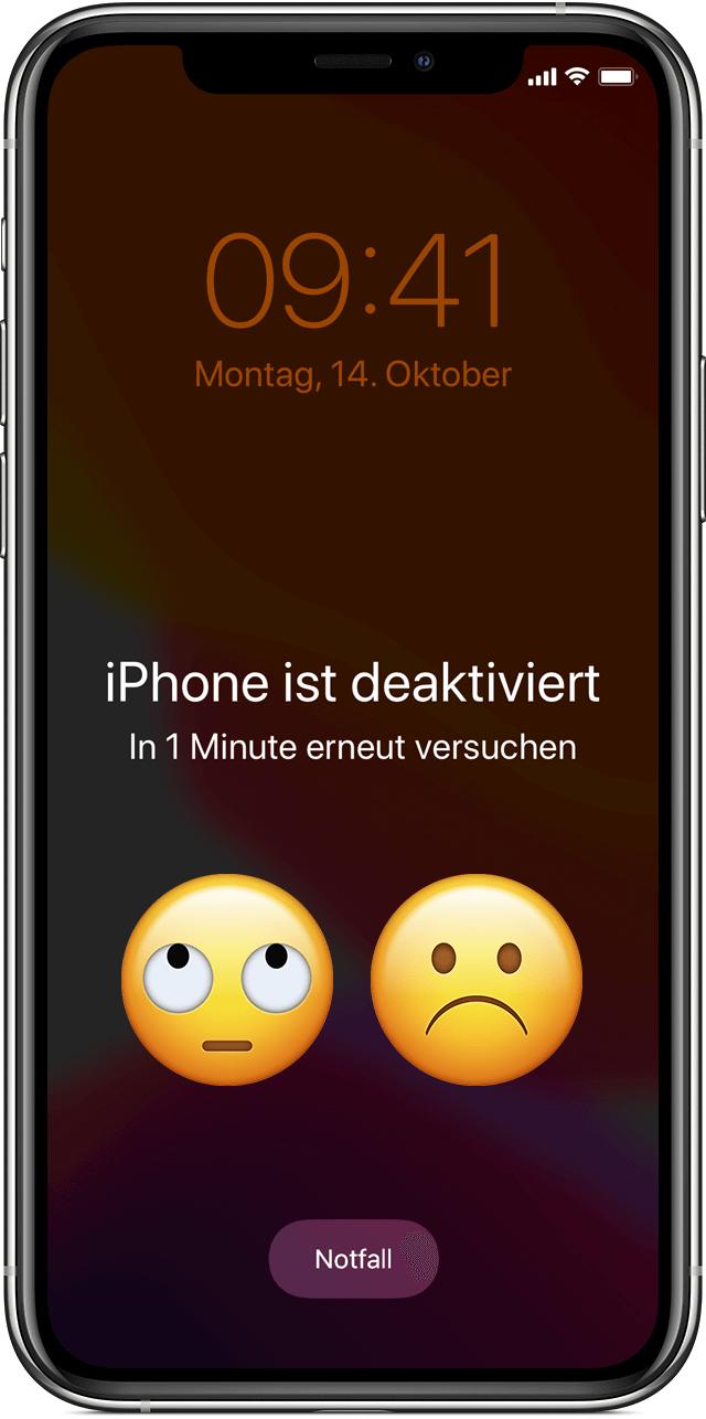 iPhone ist deaktiviert. In XX Minuten erneut versuchen