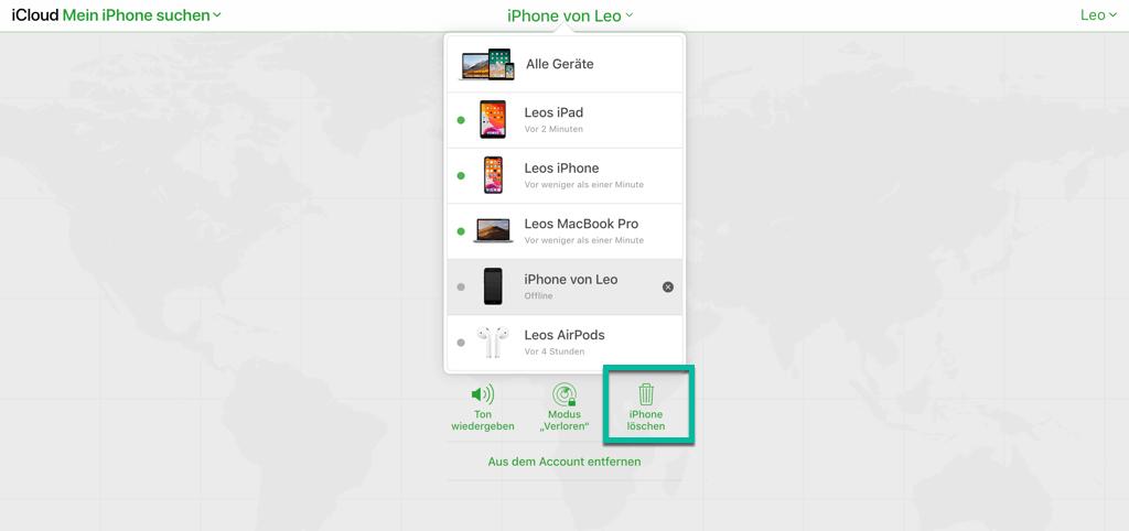 iPhone löschen und zurücksetzen in iCloud.com