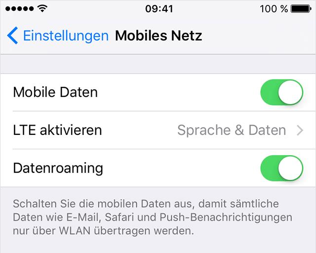 iPhone Mobile Daten aktivieren