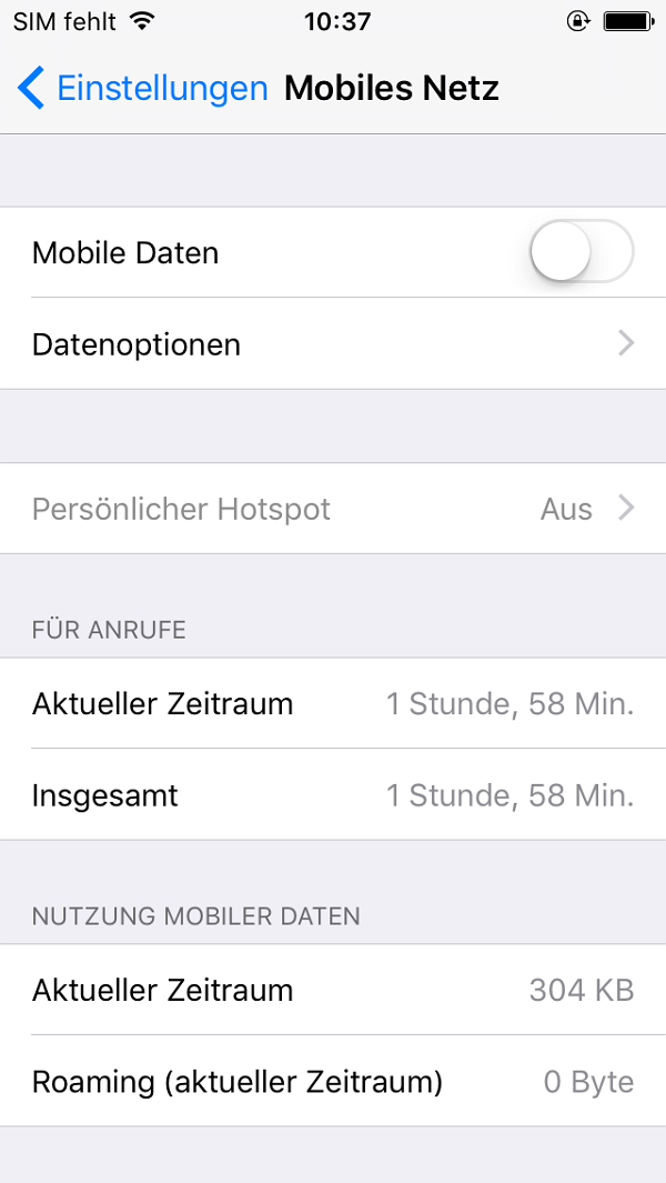 iPhone Mobile Daten einstellen
