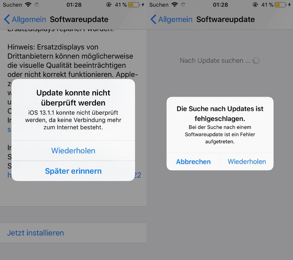 iOS Update fehlgeschlagen