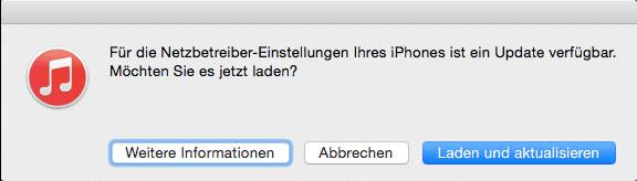 Für die Netzbetreiber-Einstellungen Ihres iPhone ist ein Update verfügbar