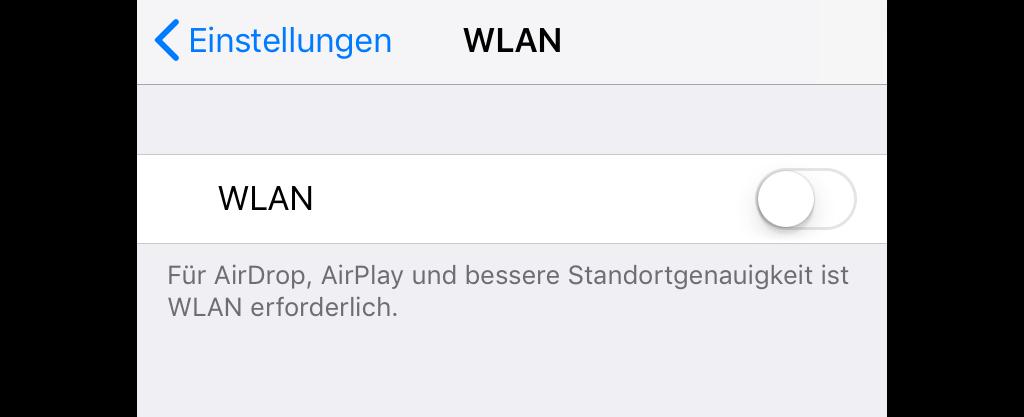 iPhone-Wlan ausschalten