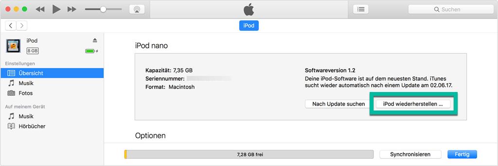 iPod OS wiederherstellen mit iTunes