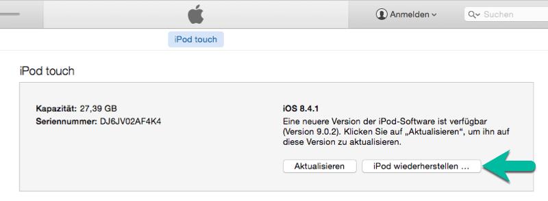 iPod touch wiederherstellen über iTunes