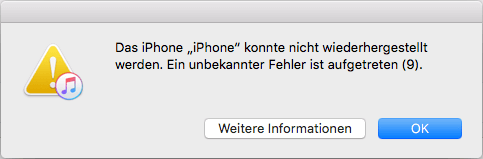 iPhone iTunes Fehler 9