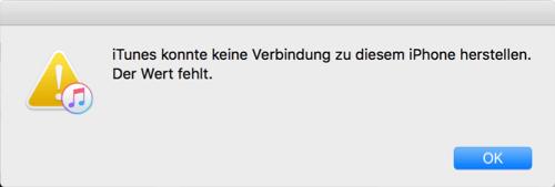 Die Fehlermeldung iTunes konnte keine Verbindung zu diesem iPhone