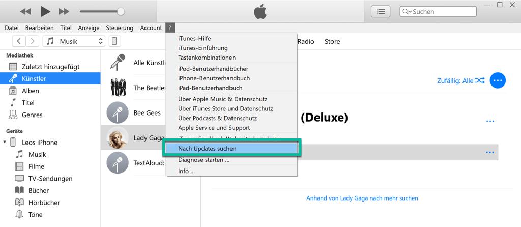 iTunes Nach Updates suchen