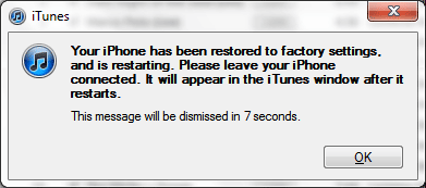 klicken auf ok nach wiederherstellen iPhone auf Werkseinstellungen