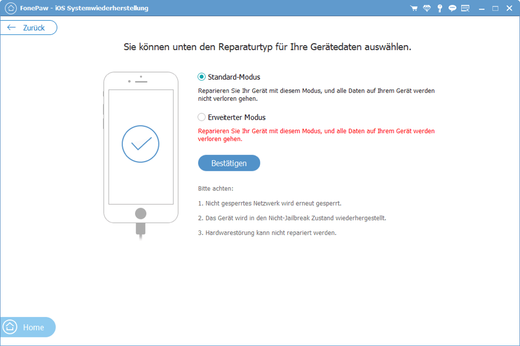 iPhone reparieren im Standard Modus