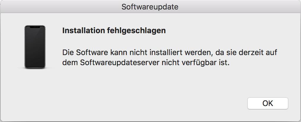 Die Software kann nicht installiert werden, da sie derzeit auf dem Softwareupdateserver nicht verfügber ist