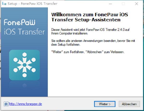 Fonepaw ios Transfer Setup Assistent