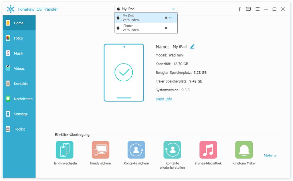 Verbinden Sie iPad und iPhone mit dem Computer
