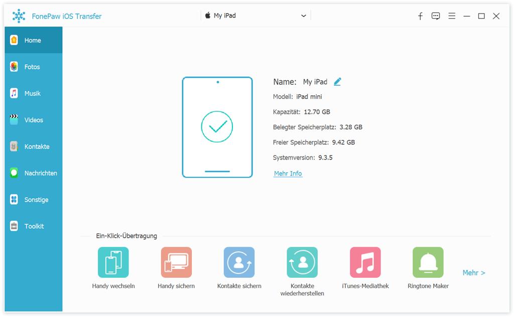 Starten iOS Transfer und verbinden Sie Ihr iPad mit PC