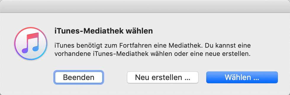 iTunes Mediathek wählen und wiederherstellen