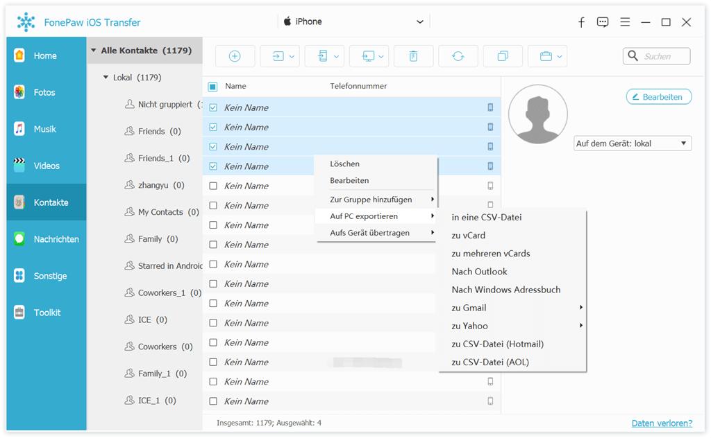 Exportieren Sie iPhone-Kontakte in Form von CSV/VCF-File