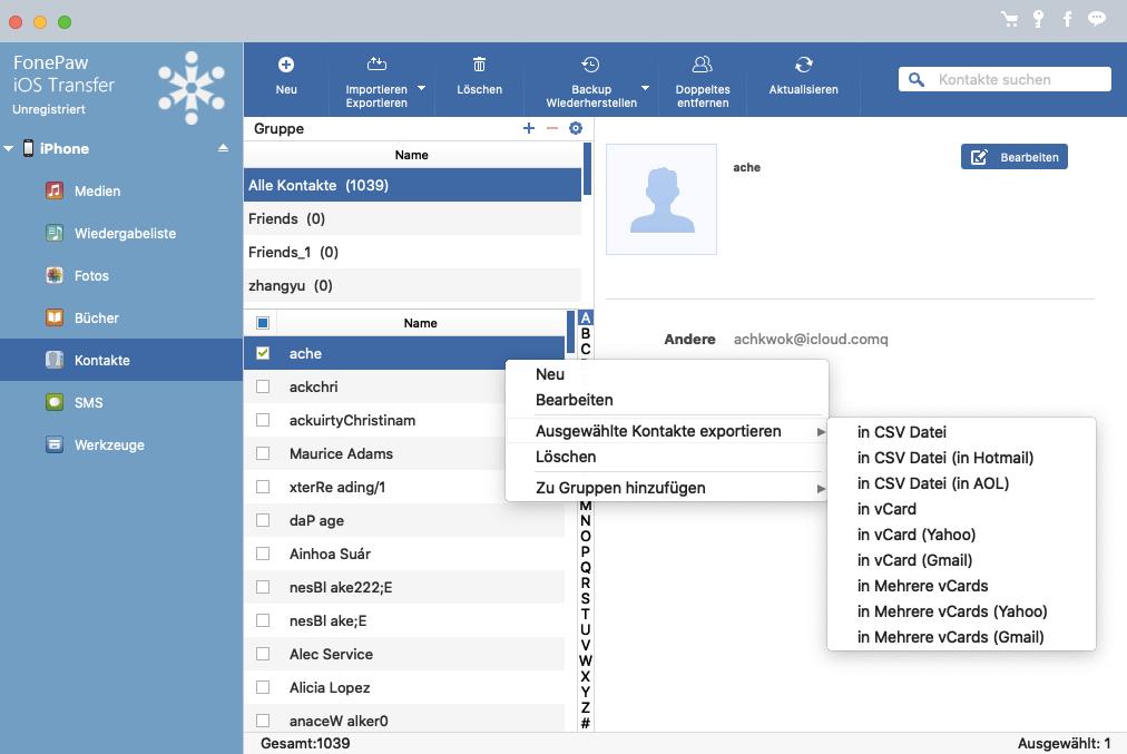 Mac ausgewählte Kontakte aus IGerät exportieren