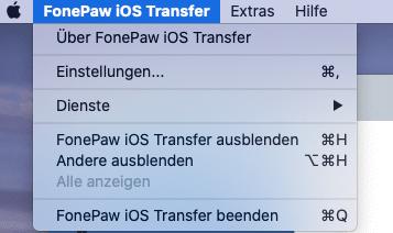 Fonepaw iOS Transfer Einstellung