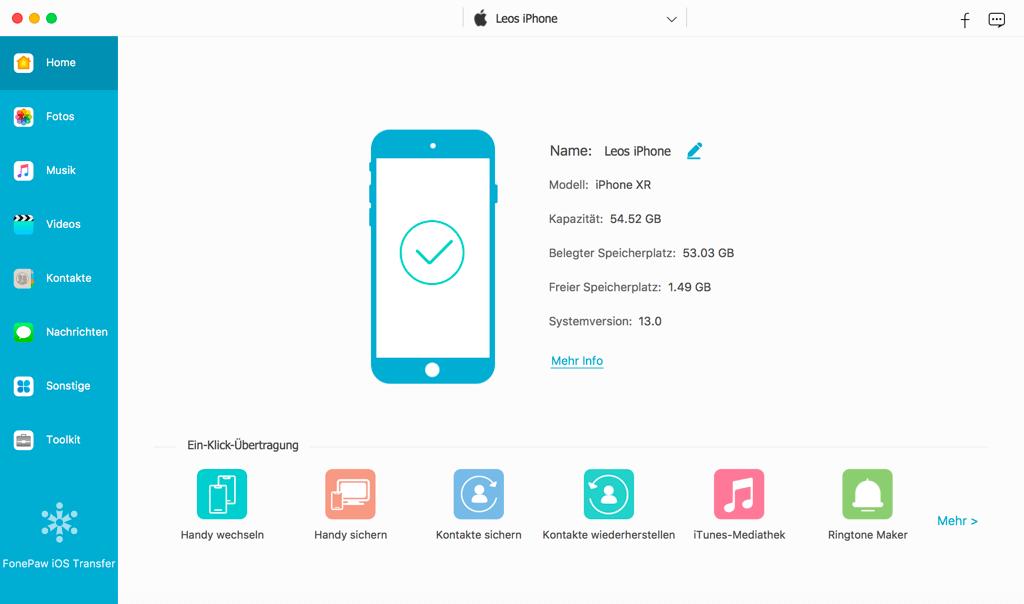 FonePaw iOS Transfer für Mac