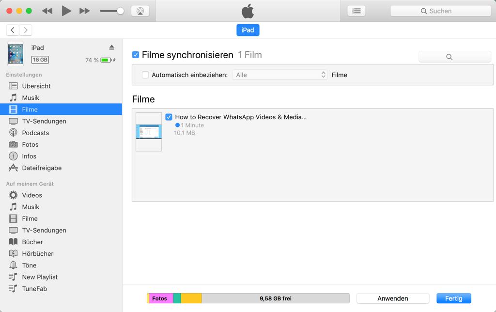 Mac iTunes Filme synchronisieren