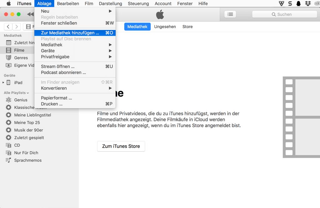 Mac Videos zur iTunes Mediathek hinzufügen