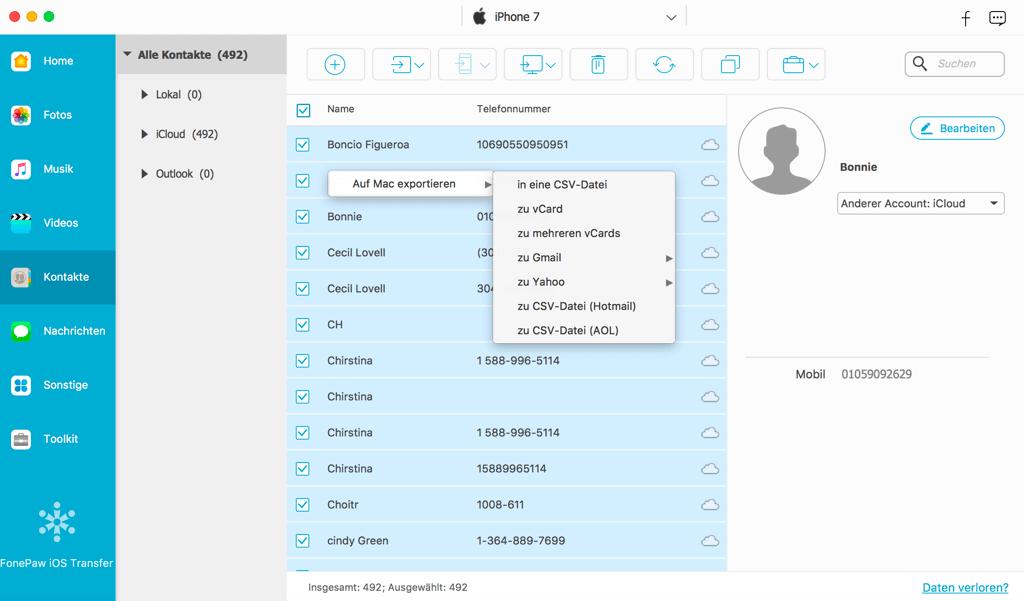 Kontakte vom iPhone auf Mac übertragen iOS Transfer