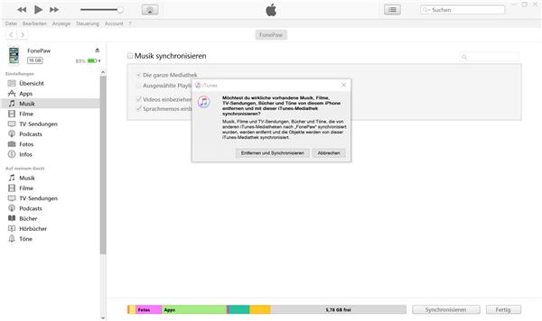 Musik iTunes synchronisieren Mitteilung