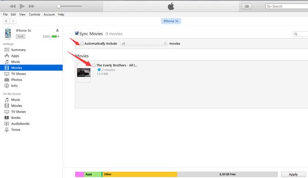 Video vom iTunes auf iPhone synchronisieren
