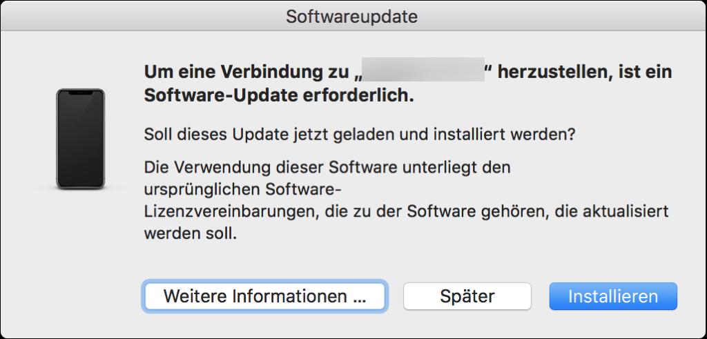 Um eine Verbindubgn zu iPhone herzustellen ist ein Software Update erforderlich