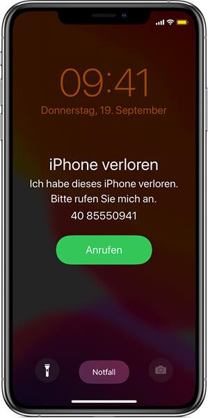Als Verloren markieren iPhone