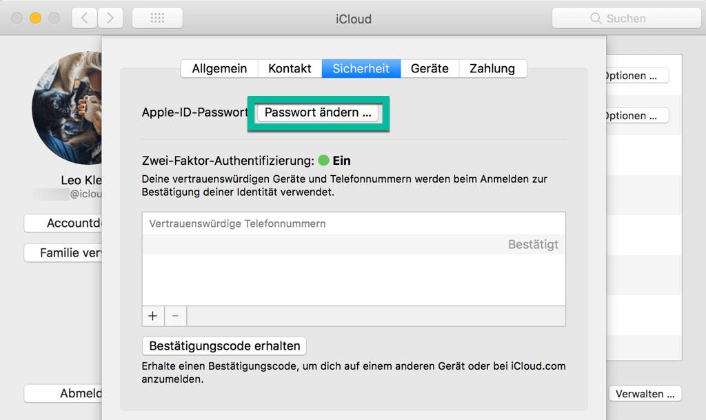 Apple ID Passwort ändern auf Mac