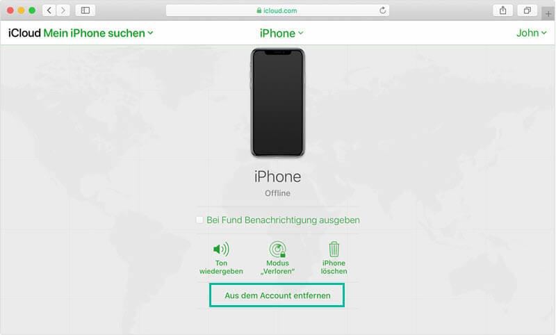 iPhone aus dem Account entfernen iCloud