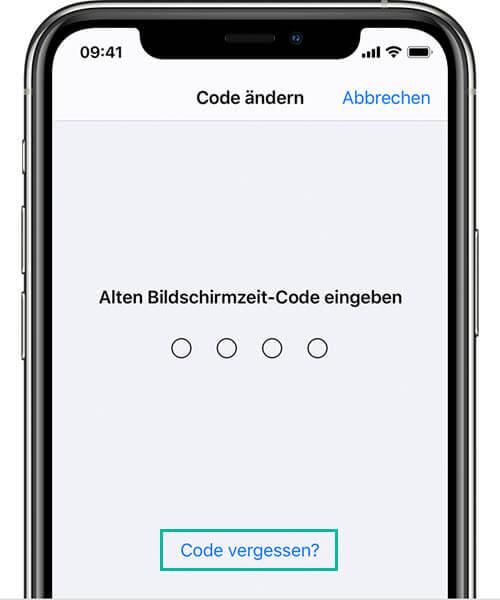 Bildschirmzeit-Code vergessen