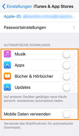 Automatische Downloads deaktivieren iTunes & App Stores