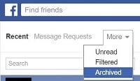 Facebook Messengers archiverte Threads