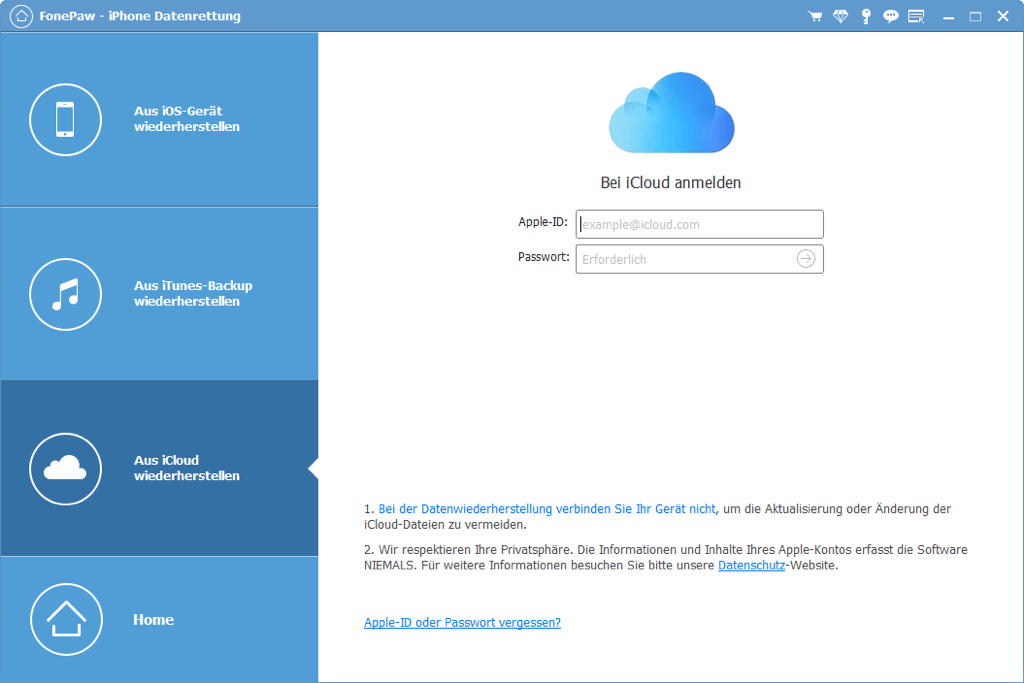 sich in Ihrem iCloud-Konto mit Apple ID und Passwort melden